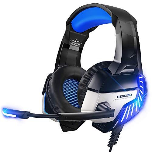 BENGOO K8 Series II Gaming Headset for PS4, Xbox One, PC, Mac, Noise Cancelling Over Ear Headphones with Microphone, Bass Surround Stereo, LED Lights Game Headset for Laptop, Nintendo Switch