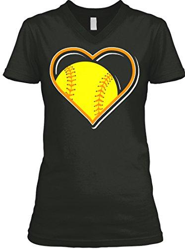 Teespring Women's Orange Softball Heart For People Who Love Softball BELLA+CANVAS V-Neck T-Shirt XX-Large Black