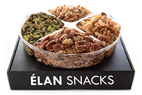 ELAN Holiday Gourmet Nut Blend Gift Box | Keto, Gluten Free, Grain Free, Vegan, Diabetic Diet Friendly Variety Nut Mix Assortment | Fresh Christmas Prime Delivery Gifts Basket (1.6lb Tray)