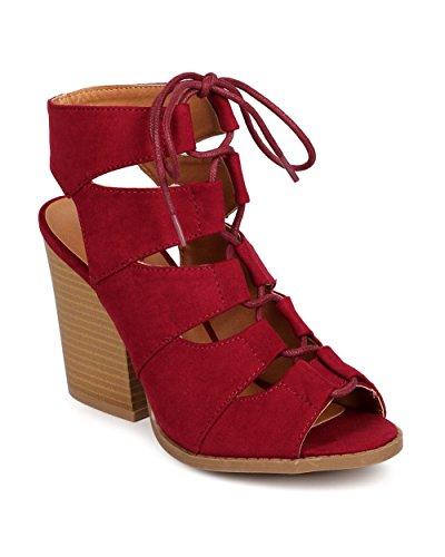 Qupid DC92 Women Suede Peep Toe Gilly Tie Block Heel Gladiator Bootie Sandal - Burgundy