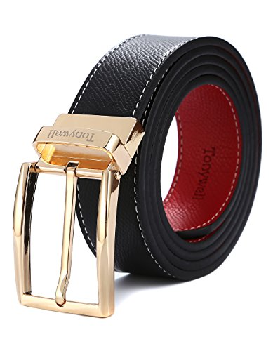 Tonywell Mens Dress Belt Leather Reversible 1 3/8 wide Removable Rotated Buckle Gift Box(One Size:32