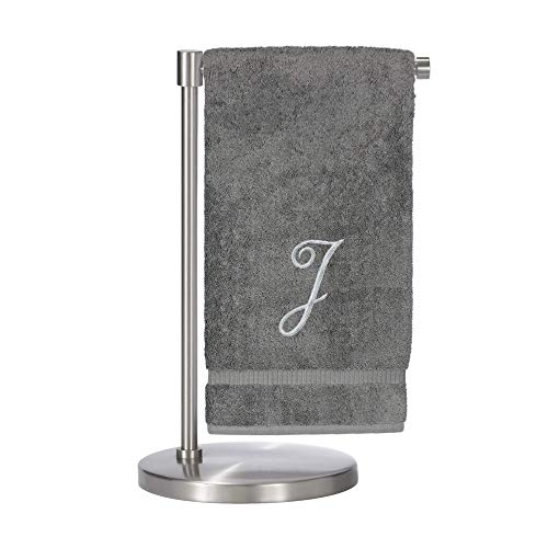 Monogrammed Bath Towel, Personalized Gift, 27 x 54 inches - Set of 1 - Silver Script Embroidered Towel - 100% Turkish Cotton- Soft Terry Finish - for Bathroom or Spa - Script J Gray