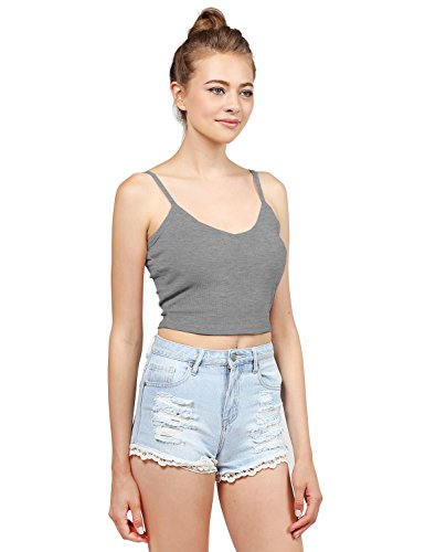 Basic Solid Sleeveless Ripped Spaghetti Strap Crop Tank Top Hgrey S Size