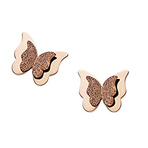 WDSHOW 18k Rose Gold Butterfly Stud Earrings Necklace Set for Women