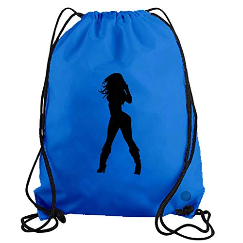 Sexy Girl Drawstring Gym Bag workout cinch nylon backpack (light blue) b11880 ()