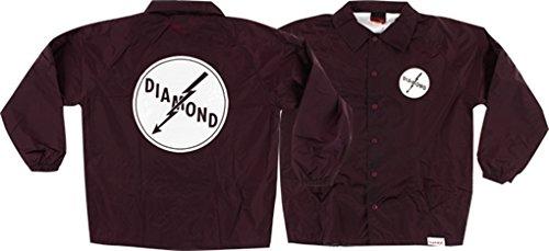 Diamond Supply Co Lightning Burgundy Coaches Jacket - Medium