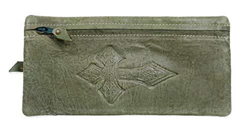 TooG 1496 High Grade Real Goat Leather Handmade Ladies Multi Utility Celtic Cross Embossed Pen Pencil Case. (Green Vintage)