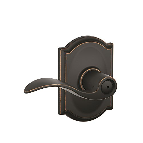 - Schlage Accent Lever with Camelot Trim Bed and Bath Lock in Aged Bronze - F40 ACC 716 CAM