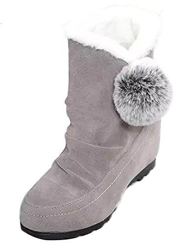 100% authentic 0aa55 eb81a Poms Invierno Zapatos Creciente Minetom Plano Altura Pom Mujer Gris De  Talón Botas Lindo Algodón Nieve Bw7pq