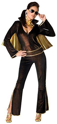UHC Women's Elvis Rock Star Black Gold Jumpsuit Halloween Themed Fancy Dress, M (8-10)