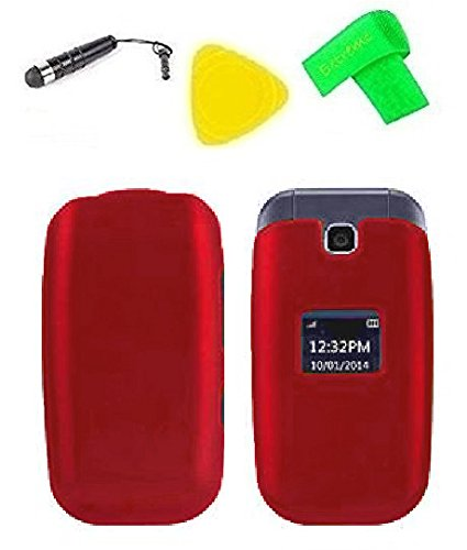 Hard Protector Phone Cover Case Cell Phone Accessory + Extreme Band + Stylus Pen + Yellow Pry Tool For Straight Talk Tracfone NET10 LG 441G (Red)