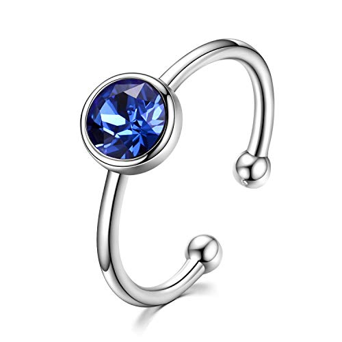 (AOBOCO 925 Sterling Silver Created Sapphire Ring Adjustable Stackable Wrap Open Ring Crystals from Swarovski Jewelry for Women)