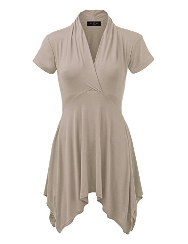 WT1120 Womens Cross V Neck Short Sleeve Empire Line Panel Tunic Top XXXL Taupe -