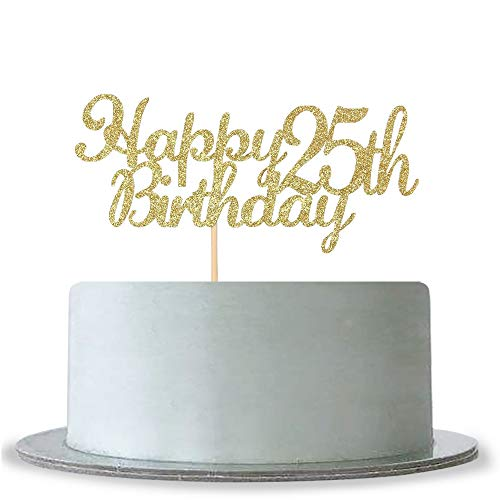 WeBenison Happy 25th Birthday Cake Topper, Gold Glitter Hello 25-25& Fabulous Cake Topper -Anniversary Party Decoration