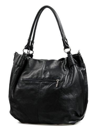 Italienische XxL Ledertasche Handtasche Shopper Nappa Leder Damentasche schwarz butterweich , 40x37x16 cm (B x H x T)