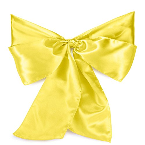 Lann's Linens Satin Chair Sashes / Bows - for Wedding or Banquet - Yellow - 10pcs