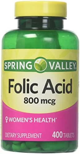 Spring Valley Folic Acid 800 mcg, 400 Tablets (1)
