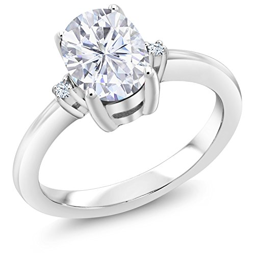 925 Sterling Silver Solitaire - 925 Sterling Silver Solitaire w/Accent Stones Ring Forever Classic Oval 1.50ct (DEW) Created Moissanite by Charles & Colvard