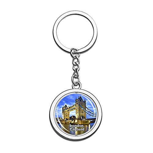 London Tower Bridge UK England Keychain 3D Crystal Creative Spinning Round Stainless Steel Keychain Travel City Souvenir Collection Key Chain Ring -