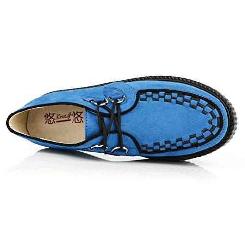 RoseG Mujer Zapatos Plataforma Gótico Punk Festival Creepers Cordones Azul