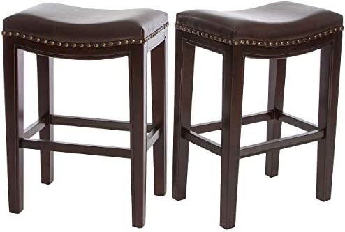 Christopher Knight Home Avondale Backless Faux Leather Counter Stools, 2-Pcs Set, Brown