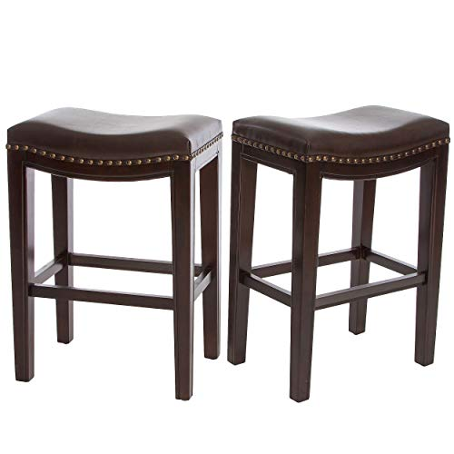 Flat Seat Counter Stool - Christopher Knight Home Jaeden Backless Faux Leather Counter Stool | Set of 2 | in Brown,
