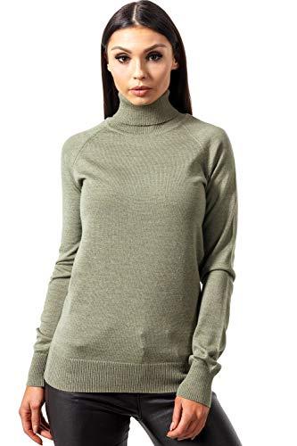 KNITTONS Women Italian Merino Wool Turtleneck Sweater Long Sleeve Pullover (Medium/US 8-10, Olive Melange)