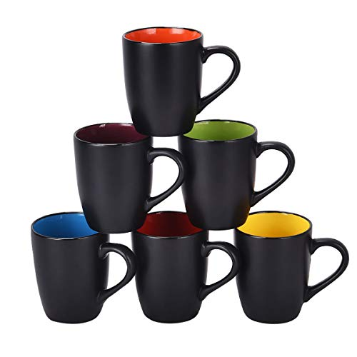 Coffee Mug Set, 16 oz Perfect for Cappuccino, Tea, Cocoa, Cereal, Set of 6, Black outside and Colorful inside