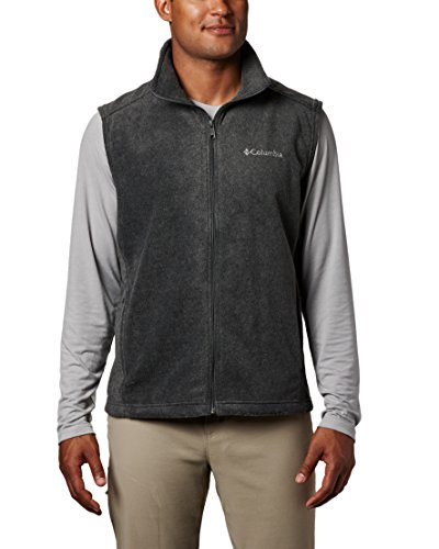 Columbia Men's Steens Mountain Full Zip Soft Fleece Vest, Charcoal Heather, Medium (Nylon Quilted Diamond Vest)