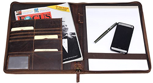Schreibmappe 1721 braun/antik A4 Konferenzmappe Leder Greenburry