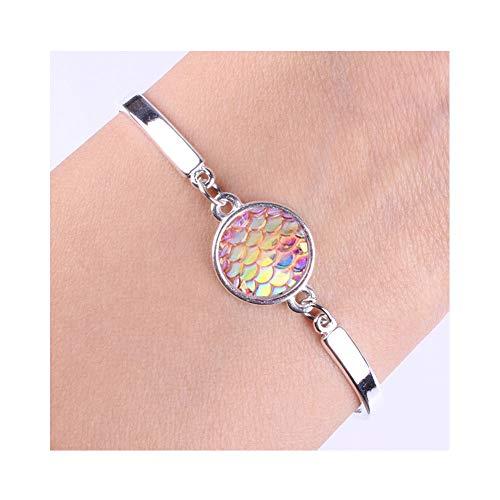 Little Fish Charm - JczR.Y Multicolor Mermaid Tail Love Bracelet Bangle Women's Fashion Silver Fish Scale Link Bracelet Sea Animal Jewelry (Pink)