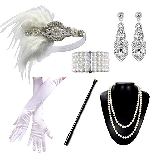 1920s Flapper Accessories Gatsby Costume Set 20s Headband Gloves Cigar Holder Necklace for Women Prom Parties