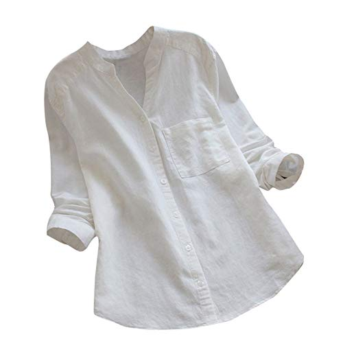 clearance sale!!ZEFOTIM Women Cotton linen Casual Solid Long Sleeve Shirt Blouse Button Down Tops (US-18/CN-XL,White)