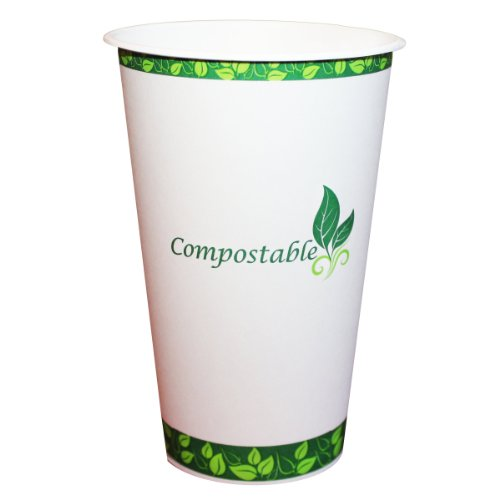 eco Kloud 16 oz Compostable Hot Paper Cups with PLA Lining (Pack of (Pla Hot Cups)