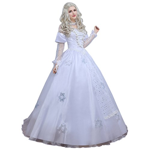 Angelaicos Womens White Queen Costume Long Lace Bridal Dress Luxury Gown (Homecoming Queen Costume)