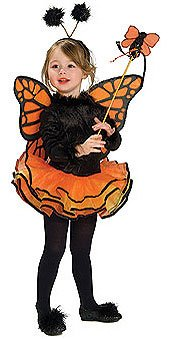 Kids and Toddler Orange Butterfly Fairy Costume - Child Small