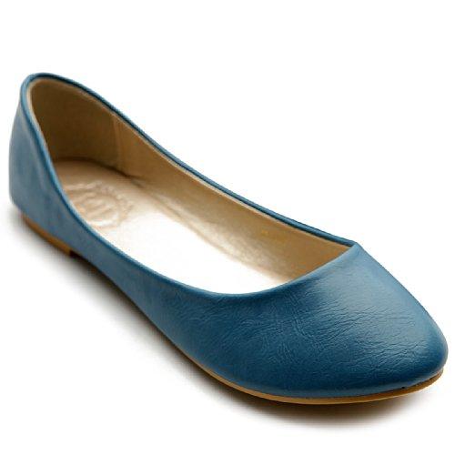 Comfort Ollio Flat Low Ballet Heel Blue Shoe Basic Light Women's v7xPqg7wX