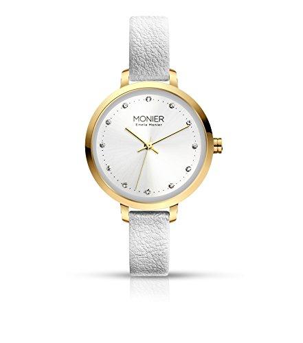 - Emelia Monier Crystal Icon Gold Tone Women's Watch with White Leather Strap EML004-02WT