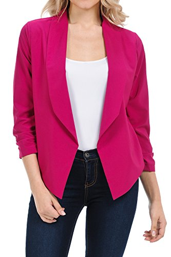 Auliné Collection Womens Casual Lightweight 3/4 Sleeve Fitted Open Blazer Magenta 2XL