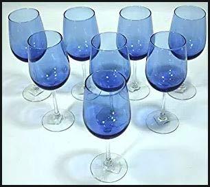 Cobalt/Royal Blue, Clear Stem, Two-Tone Wine Glasses - Set of ()