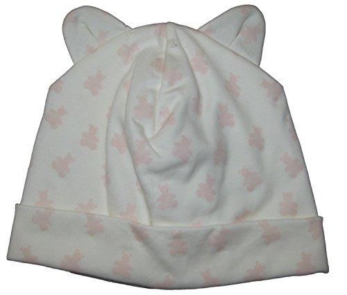 Print Ecru (Kissy Kissy Baby-Girls Infant Organic Mini Bears Print Hat-Ecru With Pink-Newborn)
