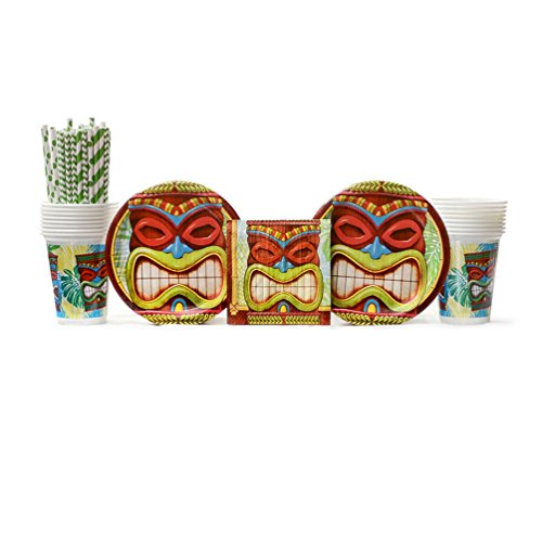 Tiki Plates - Tiki Time Party Supplies Pack for 16 Guests: Straws, Dessert Plates, Beverage Napkins, and Cups