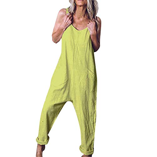 (JustWin Women Summer Plus Size Sleeveless Soild Color Loose Sling Vest Ladies Playsuit Chic Pocket Sling Jumpsuit Mint Green)