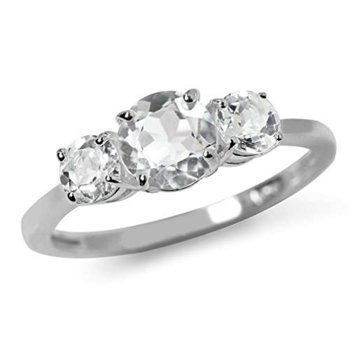 1.77ct. 3-Stone Natural White Topaz 925 Sterling Silver Ring Size 5 ()