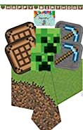 Minecraft Party Supplies for 16 - Includes Pixel Happy Birthday Banner, Minecraft Dinner and Dessert Plates, Napkins, Tablecloth and a Birthday Card by JPMD Party House (Bundle of 6 Items)