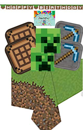 Minecraft Party Supplies for 16 - Includes Pixel Happy Birthday Banner, Minecraft Dinner and Dessert Plates, Napkins, Tablecloth and a Birthday Card by JPMD Party House (Bundle of 6 Items)]()