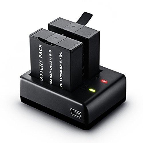 Action Kamera Akku, Vtin 1100mAh wiederaufladbar Actioncam Ersatzakku (2-Stücke) mit USB Dual Battery Charger, 2-Kanäle Ladegerät und für SJ4000/SJ5000/SJ6000/SJ7000/SJ8000/SJCAM/ODRVM Sports Camera
