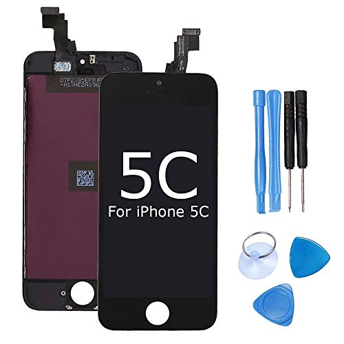 ibaye Screen Replacement Compatible iPhone 5C LCD Display Touch Digitizer Glass Lens Assembly Camera and Home Button Repair with Tools (Replacement 5c Blue Screen Kit)