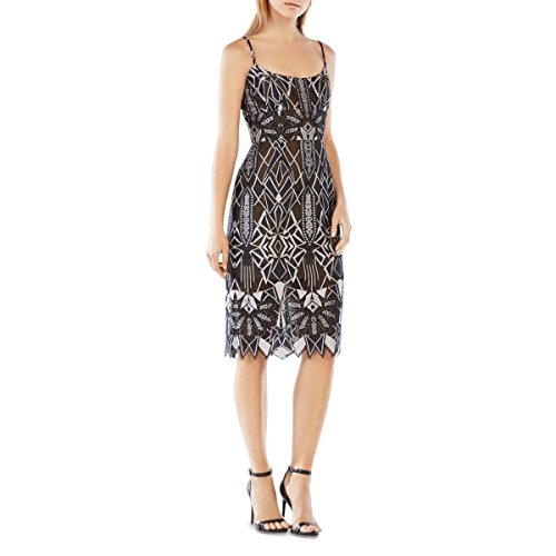 BCBGMAXAZRIA BCBG Max Azria Silver Womens Lace alese Sheath Dress (Dress Bcbg Party)