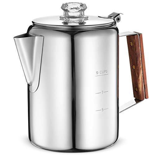 Eurolux Percolator Coffee Maker Pot - 9 Cups | Durable Stainless Steel Material | Brew Coffee On Fire, Grill or Stovetop | No Electricity, No Bad Plastic Taste | Ideal for Home, Camping & Travel (Metal Coffee Pot)